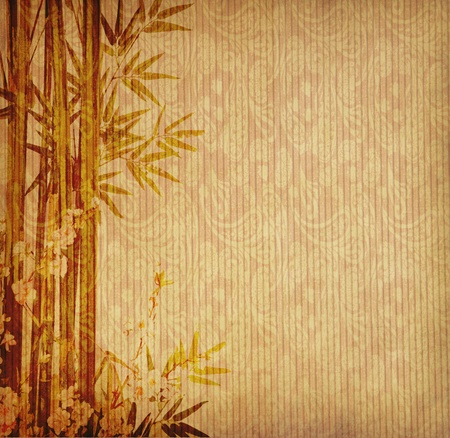 japanese background: bamboo on old grunge antique paper texture Stock Photo