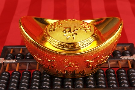 Chinese gold ingot and abacus mean symbols of wealth and prosperity  photo