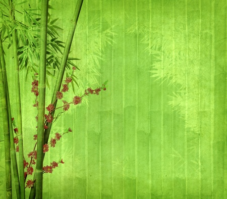 lucky bamboo: plum blossom and bamboo on old antique paper texture