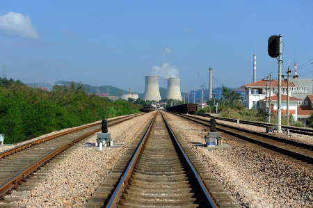 Industrial landscape with chimneys and train  photo