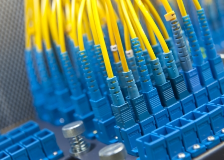 tcp: Fiber cables connected to servers in a datacenter
