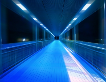 illuminated wall: footpath tunnel