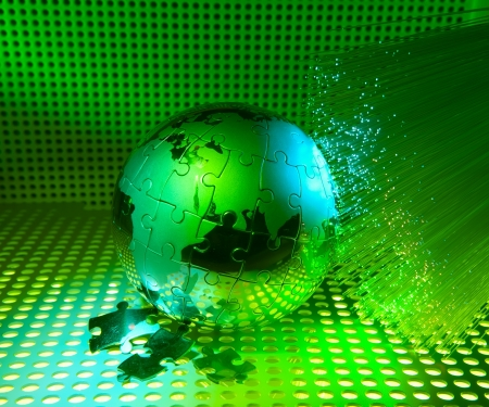 world map technology style against fiber optic background photo