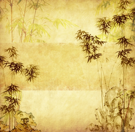 lucky bamboo: design of chinese bamboo trees with texture of handmade paper