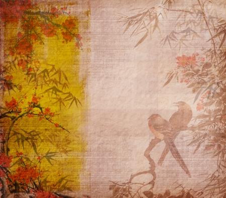 rietkraag: vogels op pruimenbloesem en bamboe op papier achtergrond Stockfoto