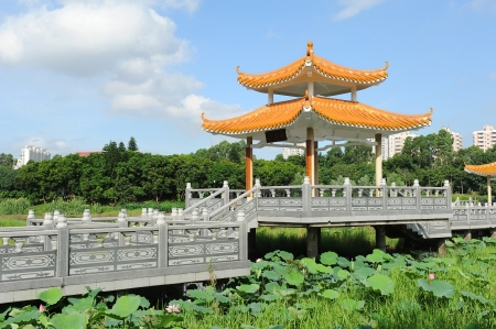 Silhouette of Chinese gloriette in shenzhen China photo