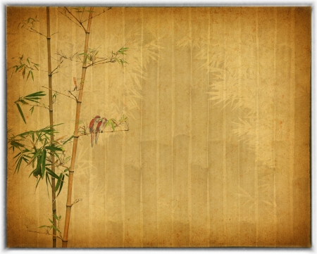 bamboo leaf: Silhouette of branches of a bamboo on paper background