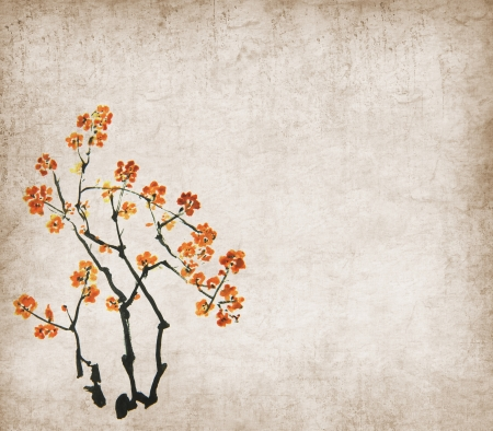 peach tree: plum blossom on Old antique vintage paper background