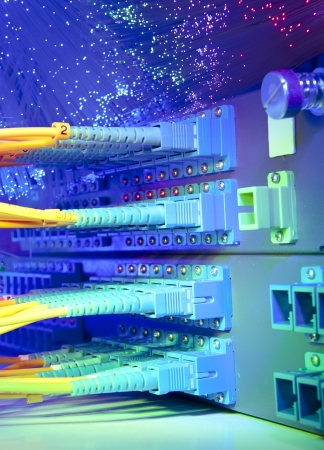hub computer: Data transfer by optical fibre information technology. Stock Photo