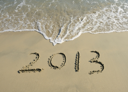 number 2013 on the beach of sunrise Stock Photo - 15220949