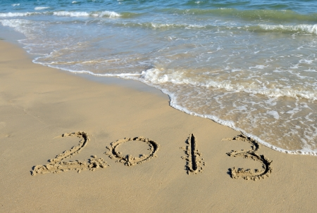 number 2013 on the beach of sunrise Stock Photo - 15717183