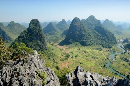 guilin:  Karst mountain landscape in Yangshuo Guilin, China