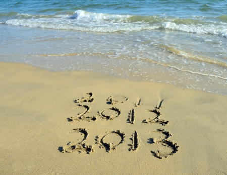 number 2013 on the beach of sunrise Stock Photo - 15777601