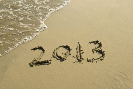 number 2013 on the beach of sunrise Stock Photo - 15777607
