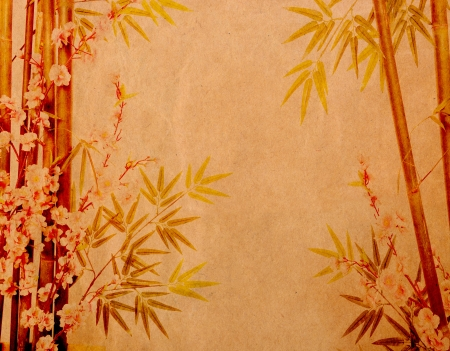 bamboo and plum blossom on old antique paper texture photo
