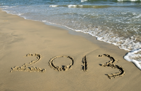 number 2013 on the beach of sunrise Stock Photo - 15867084