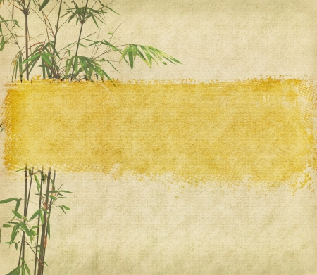 bamboo and plum blossom on antique cracked paper texture photo