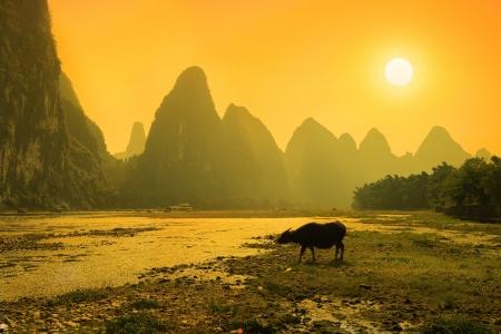 Sunset landscpae of yangshuo in guilin,china photo