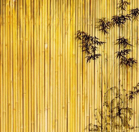 bamboo forest: design of chinese bamboo trees with texture of handmade paper