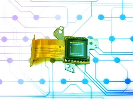 ccd: CCD sensor on a card of digital camera Stock Photo