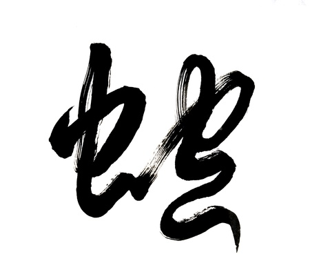 Chinese calligraphy mean snake Stock Photo - 16564435