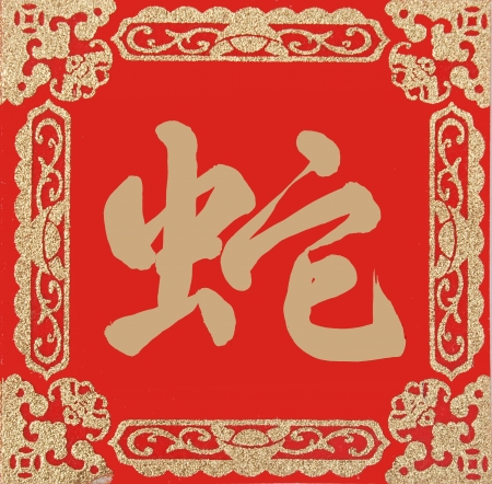 Chinese Calligraphy mean Year of the snake design Stock Photo - 16642202