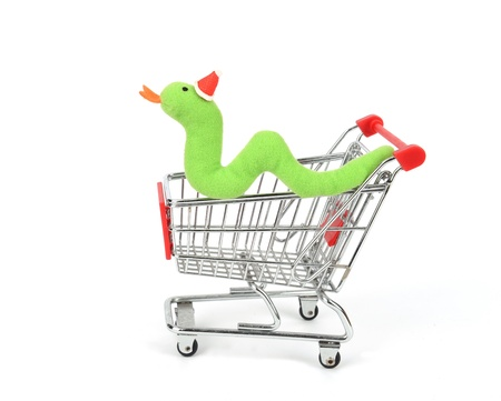 Shopping cart with Cute Christmas snake Stock Photo - 16642094