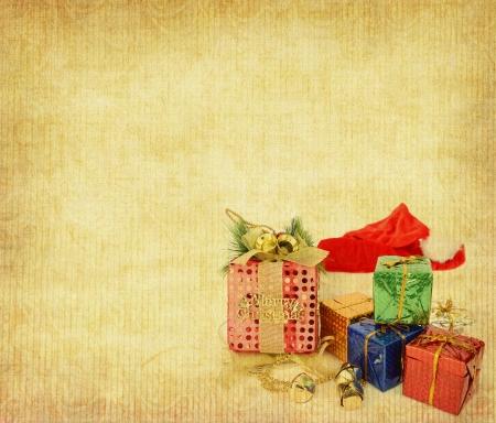 Christmas ball on Vintage christmas background photo