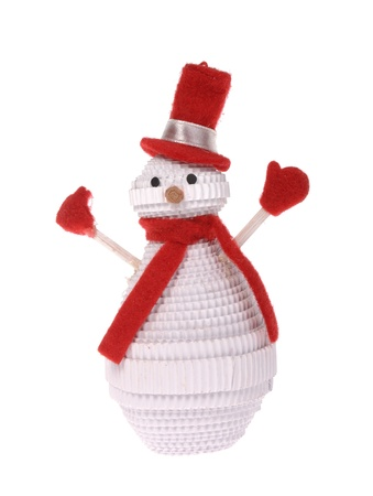 ribbin: lonely snowman make of corrugated paper