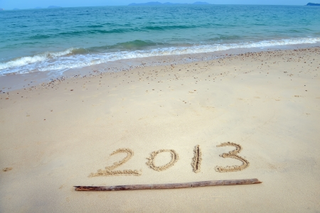 number 2013 on the beach of sunrise Stock Photo - 17041996