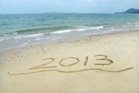 number 2013 on the beach of sunrise Stock Photo - 17041998
