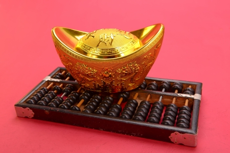 Chinese gold ingot and abacus mean symbols of wealth and prosperity. photo