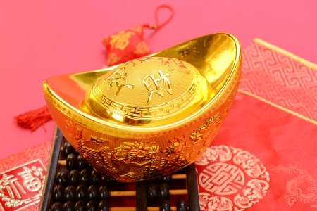 abaci: Chinese gold ingot and abacus mean symbols of wealth and prosperity.