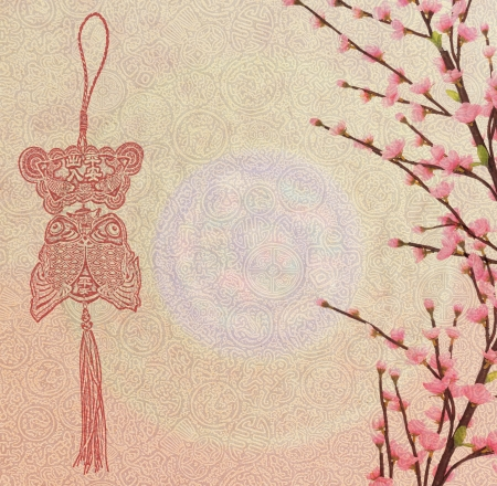 Chinese new year ornament and plum blossom on old antique vintage paper background photo