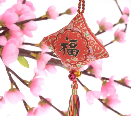 chinese knot,Calligraphy for  Fu , good fortune before will start chinese new year photo