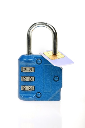 Sim card with code padlock photo