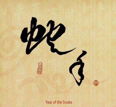 year of the snake design, words mean happy Year of the snake photo