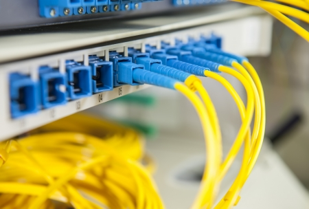 fibre: fiber optical network cables patch panel and switch