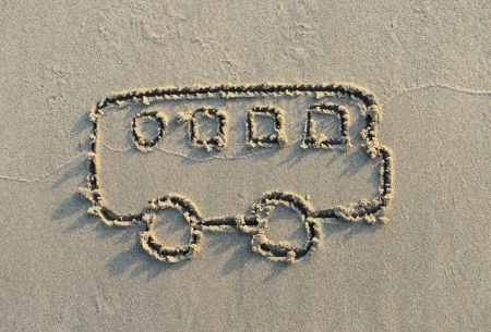 bus drawing in the sand Stock Photo - 17305010