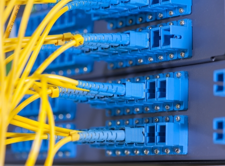 patch panel: fiber optical network cables patch panel and switch