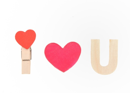 magnetic clip: i love you speel with wood heart red clip