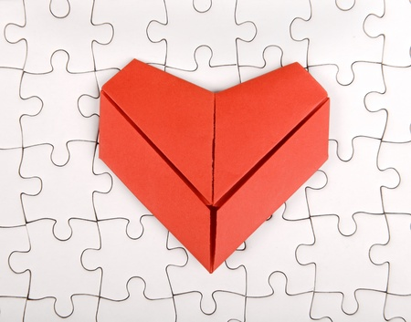 Paper Origami Heart On Puzzle Stock Photo Picture And Royalty Free