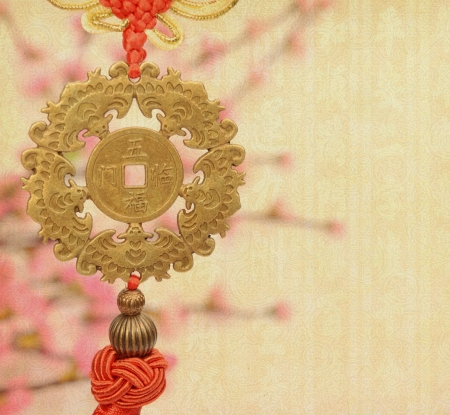 feng: Traditional chinese knot,calligraphy mean happy new year