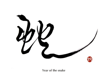 2013 year of the snake with paper background Stock Photo - 17743918