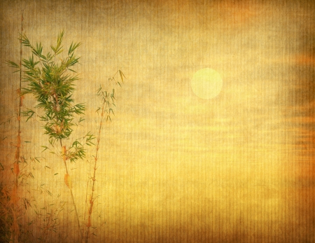 lucky bamboo: bamboo on old grunge antique paper texture Stock Photo