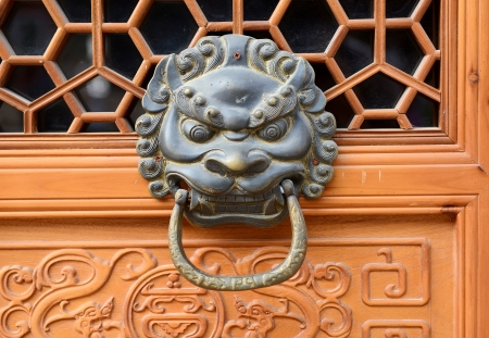 bronze doorknocker with Lion  photo
