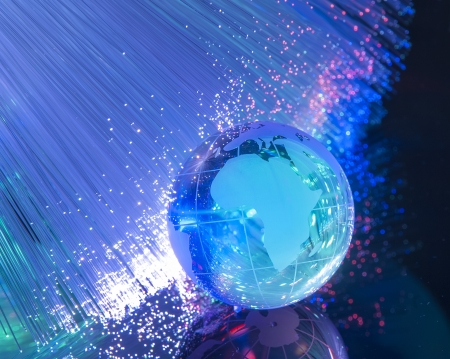 world map technology style against fiber optic background Stock Photo - 18685650