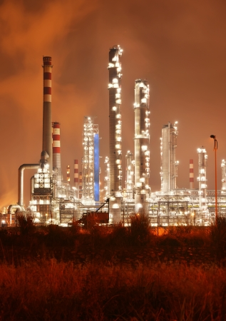 Refinery industrial plant with Industry boiler at night photo