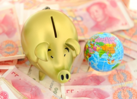 onehundred: piggy bank and one-hundred rmb bill