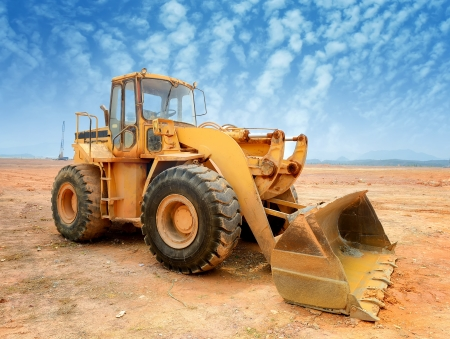 heavy equipment operator: bulldozer on a building site